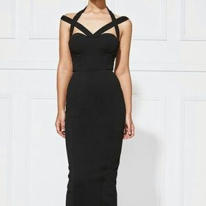Misha Collection straps black midi dress